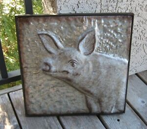 Embossed-Galvanized-Metal-PIG-Wall-Art-Primitive-French-Country-Farmhouse-Decor