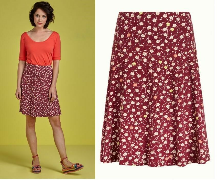 King Louie Skirt Flowers Red Floral Cherise Red Kingston 03733