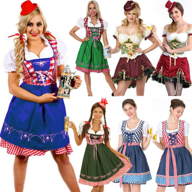 Bavarian Beer Maid Wench Oktoberfest Festival Adult Ladies Fancy Dress Costume
