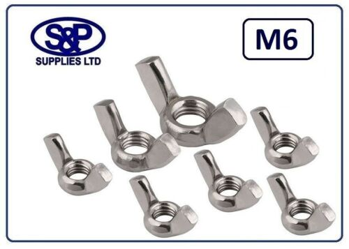 M6 6MM ST//STEEL WING NUT GRADE A2 ST//STEEL ST//ST M6 METRIC THREAD A2