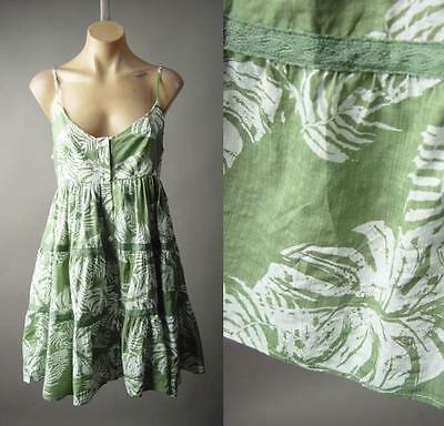 Tropical Palm Leaf Print Island Beach Tiered Babydoll Day Sun 185 mv Dress S M L
