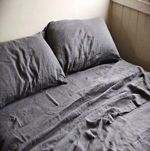 100-LINEN-BEDDING-SET-Flat-sheet-fitted-sheet-2-pillowcases-Queen-King-Flax