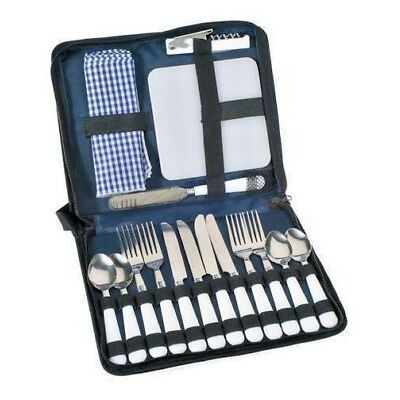 4 Person Picnic Wallet Cutlery set Beach Camping Travel 24 pieces