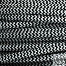 Textilkabel Stoffkabel Lampen-Kabel Stromkabel, Schwarz Weis Zick-Zack 3 adrig