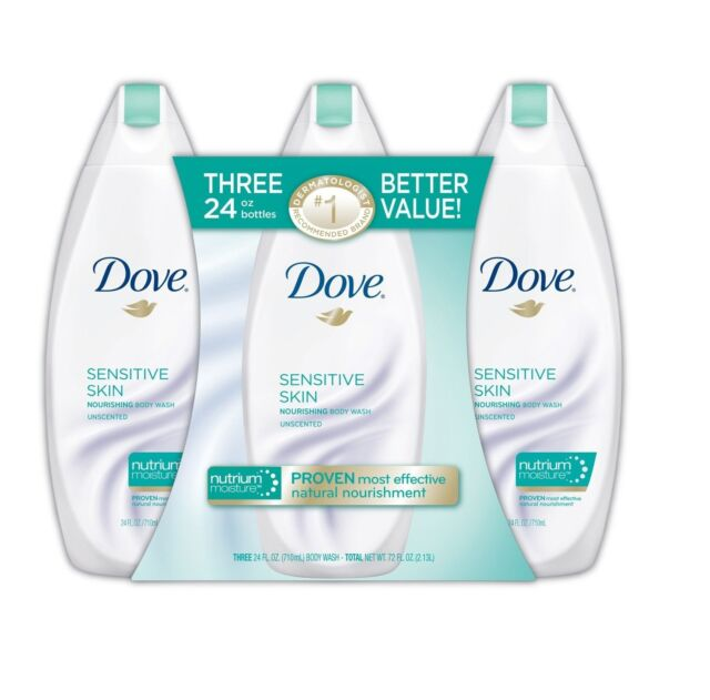 Dove Sensitive Skin Nourishing Body Wash Unscented 3 Bottles Of 24 Fl Oz Each For Sale Online Ebay