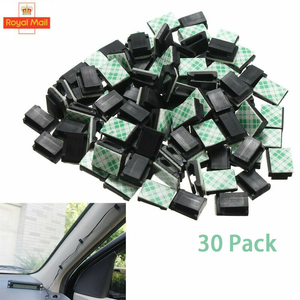 30PCS Wire Cable Clips Self-Adhesive Cord Wire Holder Clamps for Car Office Home