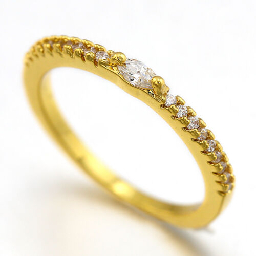 9K GOLD GF mini Diamonds SOLID STACKABLE BANDS WEDDING ANNIVERSARY FASHION RINGS