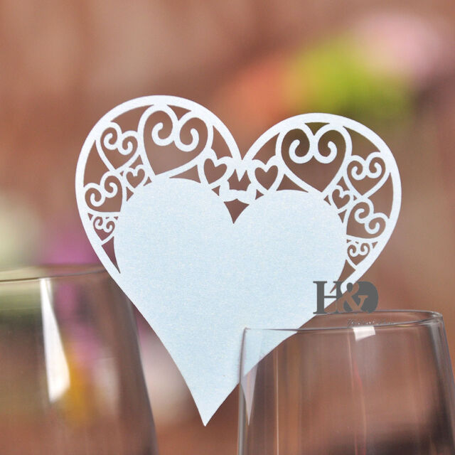 80pcs Wedding Party Decoration White Heart Shaped Glass Place Name Cards Table