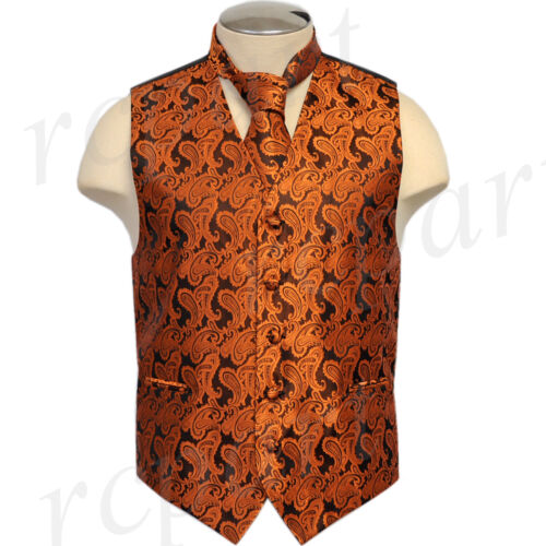 New polyester men/'s Paisley Vest Tuxedo Waistcoat/_Necktie rust formal up to 6XL