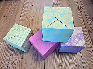 1-Square-4-034-10cm-Presentation-Gift-Box-Pretty-Printed-Card-Choose-Colour-Design