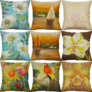 Bird-Flower-Oil-Painting-Pillow-Case-Sofa-Car-Waist-Cushion-Cover-Home-Decor