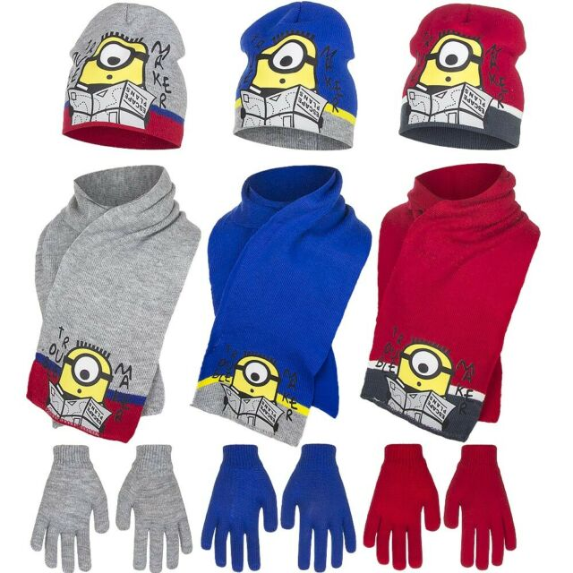 Minions Despicable Me 3 Kids Hat Scarf and Gloves Set