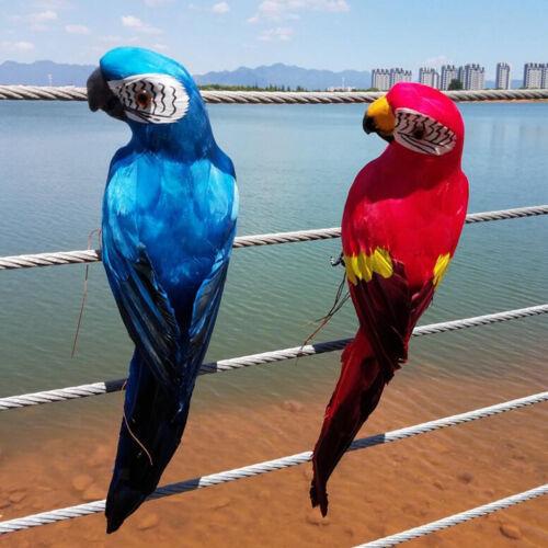 2 Stück Künstliche Papagei Ara Vogel Dekovogel mit Federn Gefiederter