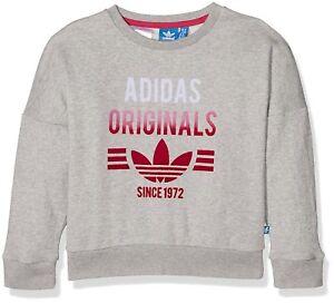 best service 13bfd fbb5f Image is loading Adidas-Originals-Girls-Crew-Sweatshirt-Junior-Youth-Fleece-