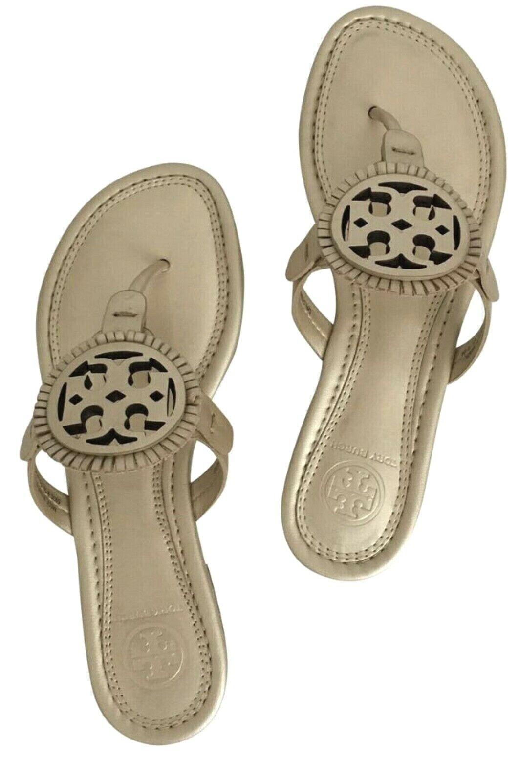 Tory Burch NEW Miller Fringe Platinum Metallic Logo Sandals Sizes 6 6.5 Auth