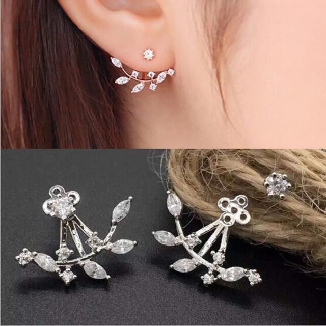 04977f172 Girl 18K Gold Plated Leaf Crystal Ear Jacket Double Sided Swing Stud Earring  b81