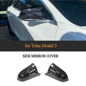 2xCarbon-Aussenspiegelkappen-Spiegelkappen-Mirror-Cover-fuer-Tesla-Model-3-2017-20