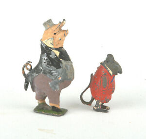 Vintage-Britains-Lead-Cococubs-Figures-Mr-Pie-Porker-amp-Will-Mouse-1930s