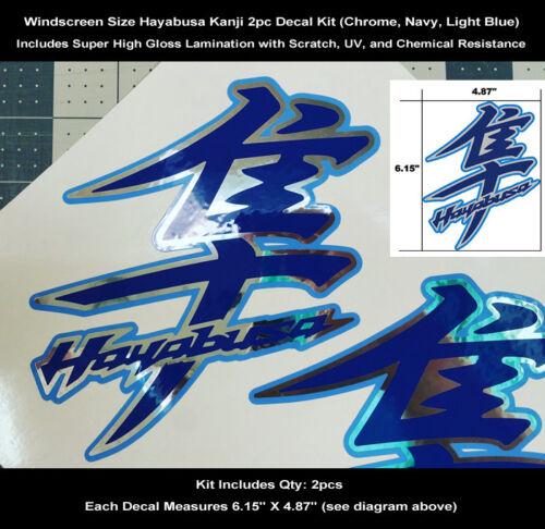 GSXR Hayabusa Kanji Decal Kit 2pcs Windscreen Tail Chrome /& Blues Laminated 0118