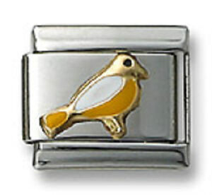 9mm-Italian-Charm-Link-Bird-Stainless-Steel-Links-For-Bracelet-Yellow-Enamel-New