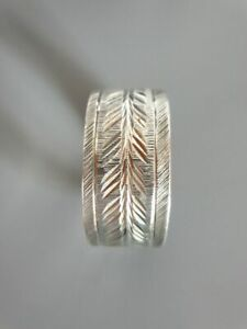 Armreif-sehr-breit-tolles-Muster-Silber-auffaellig-massiv-38-33-g-edel-CP6087