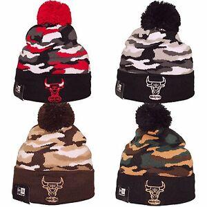 627ab9c8bb3 Details about New Era CHICAGO BULLS NBA CAMO Captivate Pom Pom Beanie Hat  Cap One Size