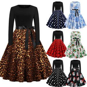 Women-039-s-Vintage-Leopard-Tunic-Long-Sleeve-Evening-Party-Swing-Dress-Plus-Xmas