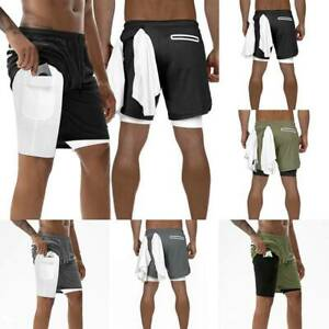 Men-039-s-2-in-1-Running-Shorts-Quick-Drying-Sports-Pants-With-Pockets-Pack-Phone