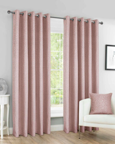 Eyelet Ring Top PEBBLE Design LINED Pair of Curtains in 3 Colours