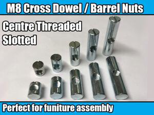 M8 Centre Thread Furniture Cross Dowel Barrel Nuts Fixing Cot Bed Desk Unit Join