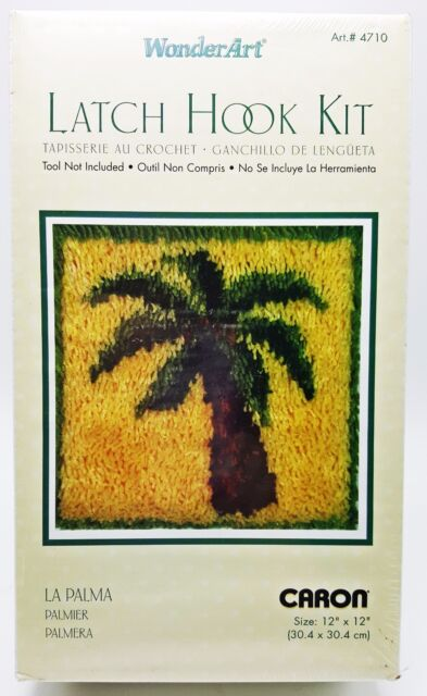 Latch Hook Palm Tree Kit 12x12 Pillow New WonderArt 4710 La Palma
