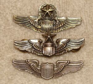 Set of 3 N.S. Meyer WWII US Army Air Force Wings - Command Pilot, Senior Pilot
