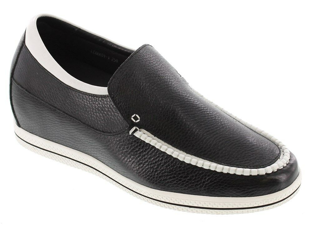 TOTO L6013 - 2.4 Inches Elevator Height Increase Boat Moc Toe Style shoes Black