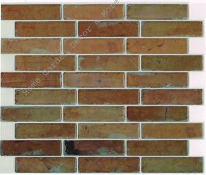 Peel Stick Wall Tile Kitchen Bathroom Backsplash Sheet Patina Brown Red Brick 667888333264 Ebay