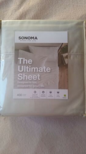 SONOMA GOODS FOR LIFE 4-PIECE SHEET SET KING 400 THREAD COUNT,100/% COTTON,GRAY