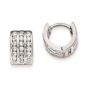 Sterling-Silver-Polished-Rhodium-Plated-3-row-Hinged-Hoop-Earrings-8mm-x-11mm