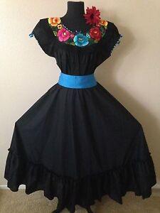 Mexican dress fiesta 5 de mayo wedding black 2 piece w for Mexican wedding dresses for sale