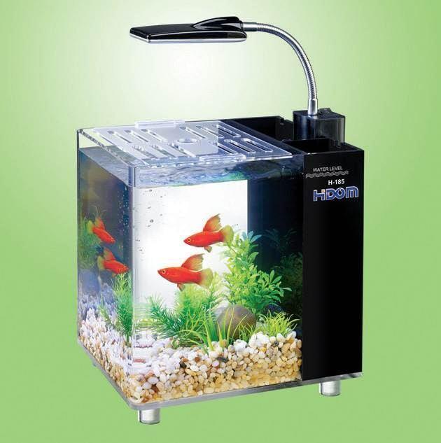 Aquarium Fish Tank 10 and 15 Litre Mini Office Desktop Light Filter Heater Hidom