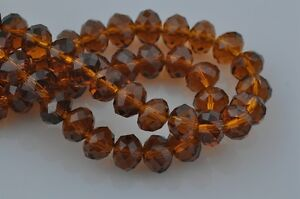 72pcs-8mm-Rondelle-Faceted-Loose-Crystal-Glass-Beads-Jewelry-Making-Smoked-Topaz