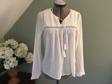 H&M L.O.G.G.  Lace Insert Baby Doll white long sleeve cotton  Blouse sz 6