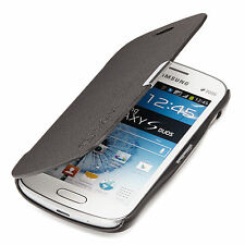 Samsung Galaxy S Duos gt-s7562 Slim Flip Case Cover Custodia Guscio Nera