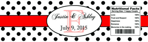 """100 Polka Dot Red Monogram Wedding Engagement Party Water Bottle Labels 8/""""x2/"""""""