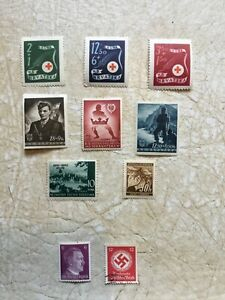 Nazi-Germany-amp-NAZI-Croatia-WW2-Third-Reich-Hitler-Swastika-Stamp-WW2