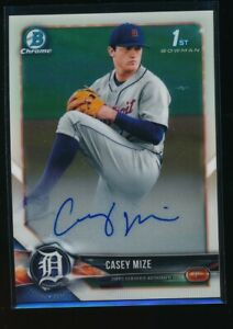 CASEY-MIZE-AUTO-2018-1st-Bowman-Draft-Chrome-Autograph-Tigers-Rookie-RC-NO-NO