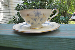 royal tettau tea cup saucer germany us zone post wwii bluebell