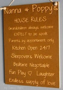 Grandparents-House-Rules-GRN-Kids-Cute-Rustic-Wooden-Nanna-Poppy-039-s-Wall-Sign