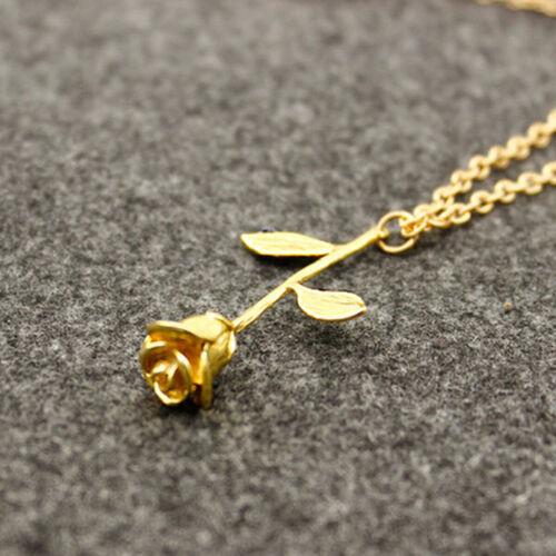 Mujer Collar De Cadena Gargantilla Colgante de Rose Joyería Necklace
