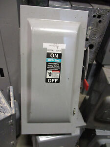 100 Amp Disconnect >> Siemens GF323N, 100 AMP 240 VOLT FUSIBLE Nema 1 Disconnect ...