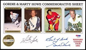 GORDIE-HOWE-amp-MARTY-AUTOGRAPHED-SIGNED-REDWINGS-AEROS-4-CARD-UNCUT-SHEET-PSA-DNA