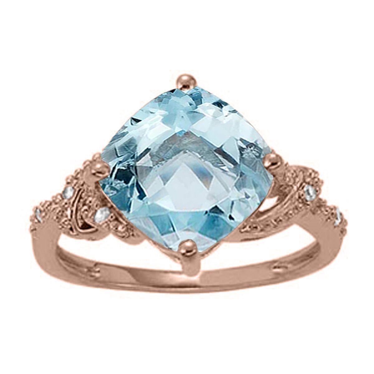 3.25 Ct. Ttw Diamond And Cushion Cut Aqumarine Ring In 10K gold
